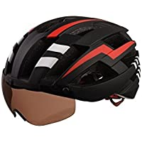 Flowerrs Casco Scooter Casco de Bicicleta para Adultos con Gafas de Montar Desmontables Casco de Montar de una Pieza (Negro + Rojo + Blanco) Skate Helmet