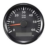 Compte-tours RPM TACHO Jauge avec heure Mètre pour auto Camion Bateau Yacht 0–6000rpm 85mm avec rétroéclairage