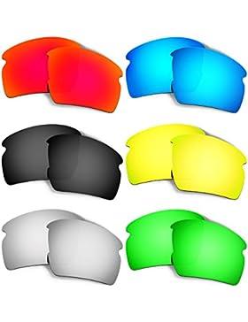 Hkuco Mens Replacement Lenses For Oakley Flak 2.0 Red/Blue/Black/24K Gold/Titanium/Emerald Green Sunglasses