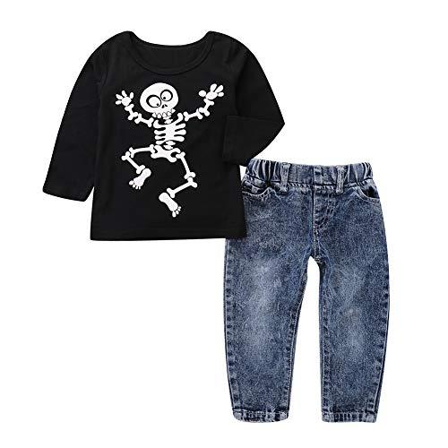 AchidistviQ Chic Kinder Jungen Totenkopf Langarm T-Shirt Top Jeans Halloween Party Kleidung Set, Black + Blue, 80cm(12-18M)