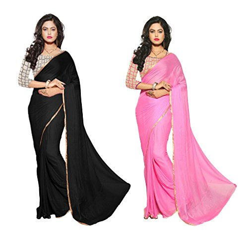 Reveka Combo Pack Of Black & Pink Plain Chiffon Sarees With Blouse