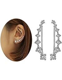 Elensan1 Bling Ear Cuffs 7 Crystals 925 Sterling Silver Hypoallergenic
