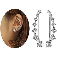 d2dbd4a5db6d Elensan 7 Cristales Ear Cuffs Hoop Climber S925 Sterling Pendientes de plata  Hypoallergenic Earring