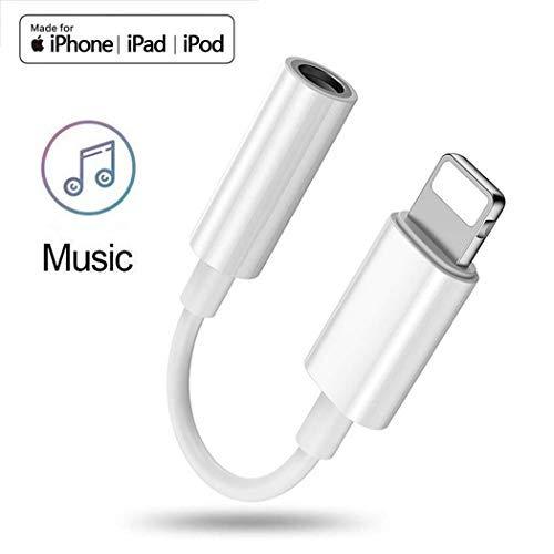 Adattatore jack cuffie, jack per cuffie da 3.5 mm adattatore per iPhone XS/XS max/XR/x/8/8 Plus/7/7 Plus auricolare connettore audio AUX cavo compatibile con IOS12