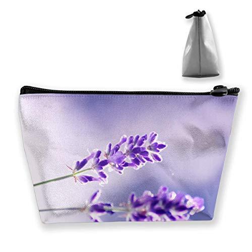 Lavendel Blumen Bulk (Zwei Lavendel Blumen Trapez Aufbewahrungsbeutel Reisetasche Wash Kosmetiktasche Stifthalter)