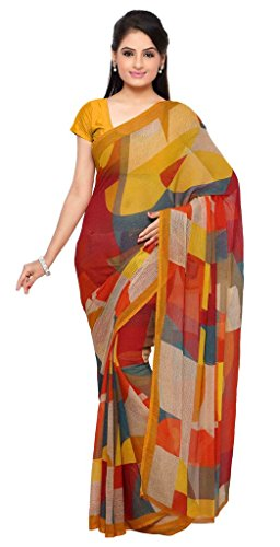 dc2ef3c35 Vaamsi Women s Chiffon Saree With Blouse Piece(Empress1019 Yellow Free  Size) chiffon sarees for women