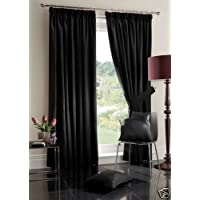 "Black Curtains 46"" x 54"" Pair of Faux Silk Fully Lined Pencil Pleat Ready Made width 46 "" x 54"" drop"