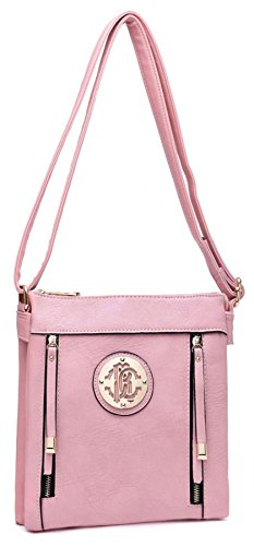 Big Handbag Shop due tasche frontali con Zip lunga Pulls Messenger Cross Body Bag Ash Blue (NL395)
