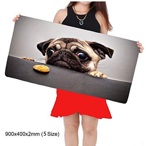 Merigue Store Lustige Tier Mops Große Mauspad 400 * 900 * 5 Mm Laptop Mauspad Beste Kissen (Mops Passt Der)