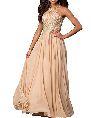 Izanoy Damen Gold Applikationen Chiffon Formale kleider Lange Ballkleider mit Perlen Champagner