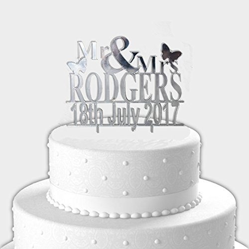 Personalised Wedding Cake Topper – Mirrored Acrylic Mr & Mrs cake toppers for wedding, name cake topper - L1014