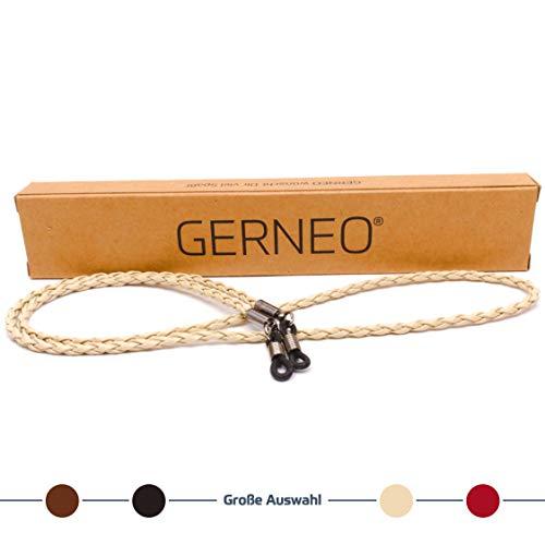 GERNEO GERNEO - Premium Brillenband Leder aus hochwertigem PU Leder - geflochten - beige - für Lesebrille & Sonnenbrille