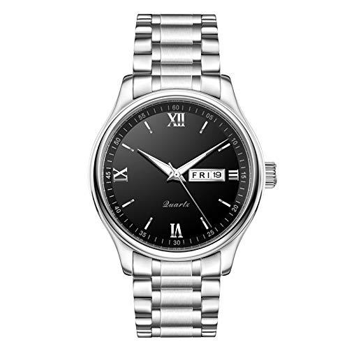ZHAN Herrenuhr, Ultra-Thin-Armbanduhr für Männer Quarz doppelte Kalender Edelstahlmann watchLuminous wasserdicht Zu,Silvershellblacksurface -