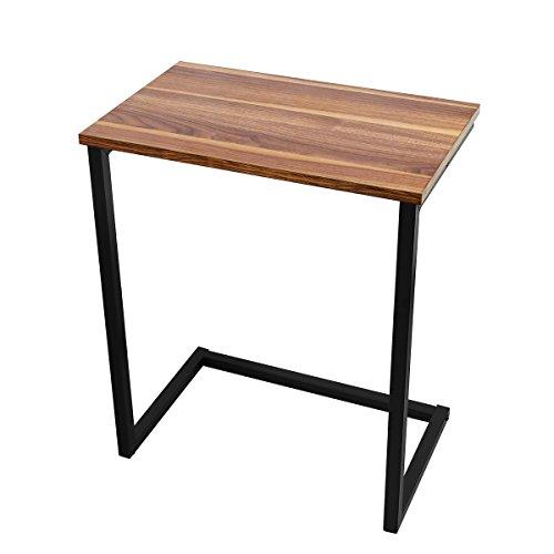 Homemaxs Sofa Beistelltisch Laptoptisch Holz und Stahl 66 x 56 x 35.5 cm