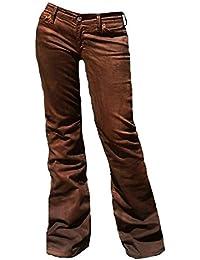 Fornarina Damen Jeans Braun Area Stretch Satin Wildleder Wild Leder Optik Rock Star Hose Bootcut Schlagjeans