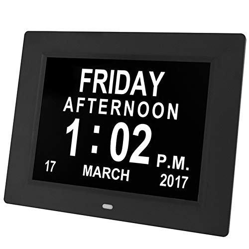 RENYAYA 8 Zoll LCD-Bildschirm Digital Photo Frame, The Original Memory Loss Digital Calendar Day Clock mit Extra Large Non-abbreviated Day & Month. Perfekt für Senioren,Black (Frame Touch-screen Digital Photo)