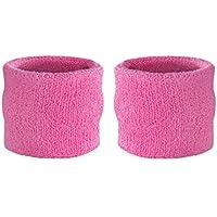 Suddora - Muñequeras para niños, muñequeras de tejido rizado de algodón atléticas para deportes (par)., rosa
