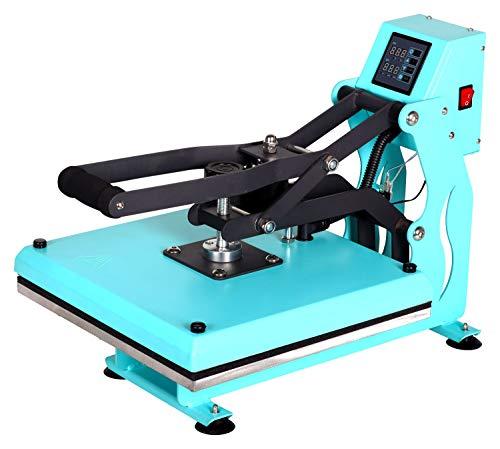 RICOO T438M-TB Transferpresse mit Öffnungsautmatik Textilpresse Textildruckpresse Klappbar Thermopresse Transferdruck Bügelpresse Textil T-Shirtpresse Sublimationspresse/Türkis-Blau