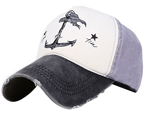 Belsen Damen Vintage Anker Baseball Cap Snapback Trucker Hat (Schwarz)