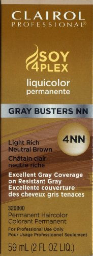 Clairol Colorant permanent Liquicolor Gray Busters - Excellente couverture des cheveux gris tenaces - Couleur 4NN - Châtain clair neutre riche - 59 ml