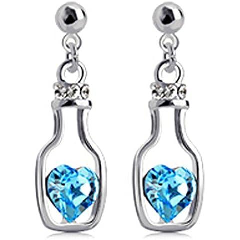 Ciondola bottiglie deriva argento orecchini placcati Ocean Blue Swarovski Elements cristallo orecchini di goccia
