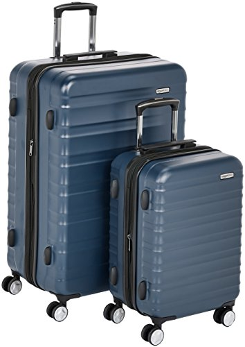 AmazonBasics - Hochwertiger Hartschalen-Trolley mit eingebautem TSA-Schloss und Laufrollen, 2-teiliges Set (55 cm, 78 cm), Marineblau