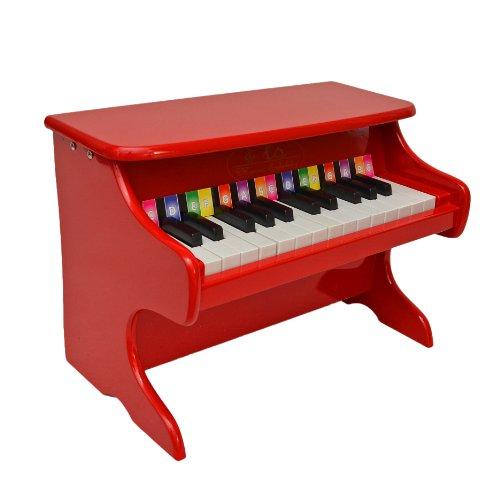 Kinder Mini Klavier aus Holz Flügel mit 25 Tasten Kids Piano, rot