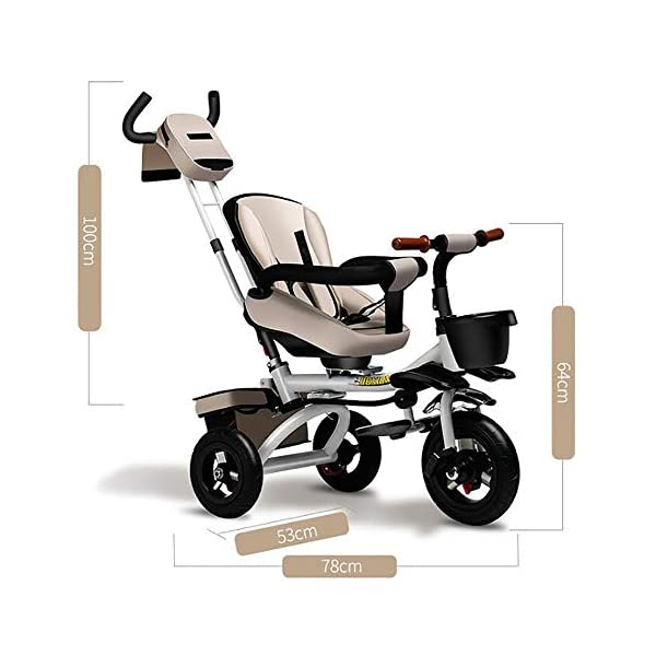 Sunzy Children's hand-pushing tricycle, 360-degree rotating disassembly and reclining baby bicycle, suitable for children from 6 months to 6 years old  The seat can be rotated, even if the two-way implementation of humanization during walking, the parents can always pay attention to the baby's every move, one-click to open the rotating function, 360 ° full landscape. The backrest angle can be adjusted freely from 100° to 170° to suit your baby's needs. Equipped with storage function and folding system for easy travel, inflatable rubber tires, explosion-proof and stab-resistant 8
