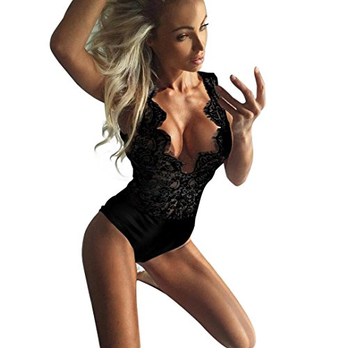 Jumpsuit damen Kolylong® Frauen Elegant V-Ausschnitt Spitze Overall Reizvoller rückenfrei Bodysuit Unterwäsche BH Ärmellose Bluse Oberteile Badeanzug Spielanzug (L, Schwarz) (Gel-spitzen-bh)