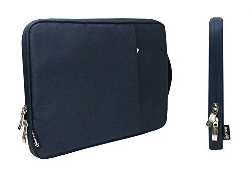 Emartbuy Universal 13.3-14.0 Inch Denim Dark Blue Carrying Bag Case Cover Sleeve with Retractable Handle and Zipped Pocket Suitable for Selected Laptops Notebooks Ultrabooks Listed Below