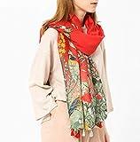 Kangqi Country Style Print Schal Mode lange Schals Baumwolle Schal Wrap mit Quasten (Farbe : Red, Größe : 180 * 90cm)