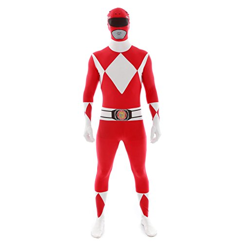 Morphsuits Offiziell Rot Power Ranger Verkleidung, Kostüm - Large - 5'5-5'9 (163cm-175cm) (Power Ranger Halloween)