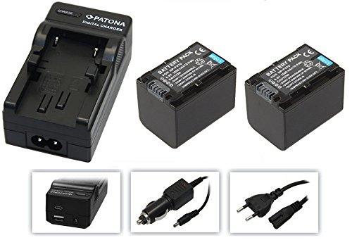 3in1-SET für den Sony FDR-AX53 / AX53 Ultra HD Camcorder --- 2 PREMIUM Akkus für Sony NP-FV70 (1600mAh) + 4in1 Ladegerät (u.a. mit USB / micro-USB und Kfz/Auto) inkl. PATONA Displaypad - Camcorder-set