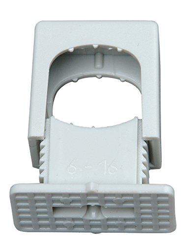 Kopp Druck Iso-Schellen aus Kunststoff (50 Stück), 6 - 16 mm, M6 Gewinde, Kabelbefestigung für Leitungen und Rohre, mit Schraubloch, grau, 343404099
