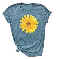 GRIPY T Shirt Women Women Ladies Fashion Print Flower Round Neck Short Sleeve Loose Blouse Shirt