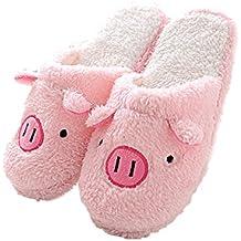 Butterme, zapatillas cálidas de invierno, cómodas, antideslizantes, para casa, de peluche, con vellón, para chica, señora o caballero Maiale rosa L/EU 40~41