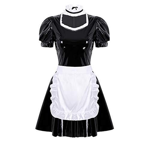 Französisch Kostüm Dienstmädchen - iEFiEL Wetlook Damen Dienstmädchen Kostüm französisches Frauen Kurzarm Minikleid Leder-Optik mit Schürze und Chorker Cosplay Halloween Schwarz S