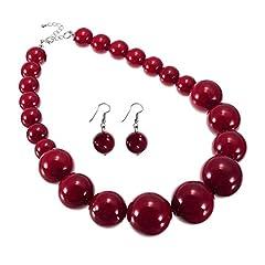 Idea Regalo - Jerollin Set Collana da Donna Girocollo con Orecchini Perle Rosso