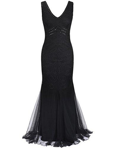 Kayamiya Damen 1920er Maxi Lange Meerjungfrau Formelle Gatsby Flapper Abendkleid XL Schwarz