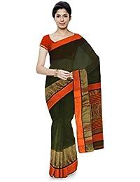 R K Chouhan Maheshwar Maheshwari Handloom Cotton & Silk Saree (Orange)