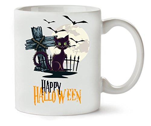 Happy Halloween Cat Cross Bats Klassische Teetasse Kaffeetasse