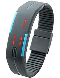 JSDDE Écran tactile LED Binary numérique Montre de sport silicone bracelet Hommes Femmes Montre(gris)