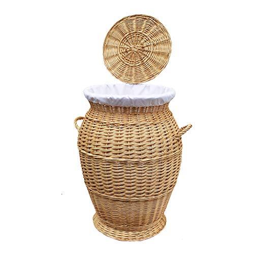 GalaDis 32-70RW runder Wäschekorb/Wäschesammler aus Weide Geflochten (70 cm) mit herausnehmbarem Einsatz/Innensack und Deckel für die Ganze Familie