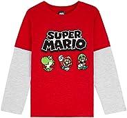 Super Mario Camiseta Niño, Camisetas de Manga Larga Azul y Roja con Mario Bros, Ropa para Niño de Algodon, Reg