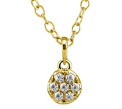 Or Jaune 9 ct Pendentifs Diamant en forme de rond, 0.01 Ct Diamant, GH-SI, 0.63 grammes.
