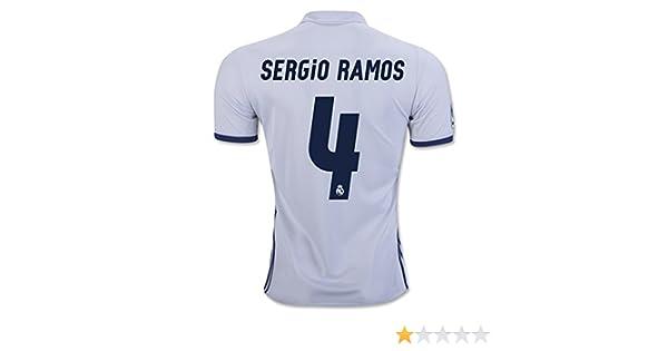 Maillot de football Real Madrid 2016 2017 CF 4 Sergio Ramos en blanc moyen  blanc  Amazon.fr  Sports et Loisirs 1f813fe33a349