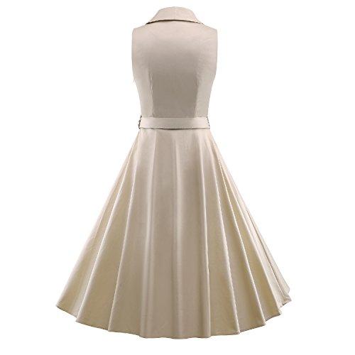 ILover 50s balancer rockabilly robes robe de danse POLO collier de fête de bal millésime E049-beige