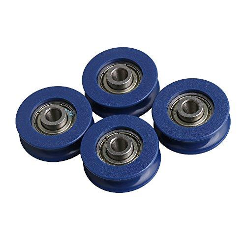 cnbtr 6mm Breite 3mm Tiefe u-groove blau Kunststoff Kugellager Umlenkrolle Rad für max-load 59kg 4Stück (Bearing Nut Roller)