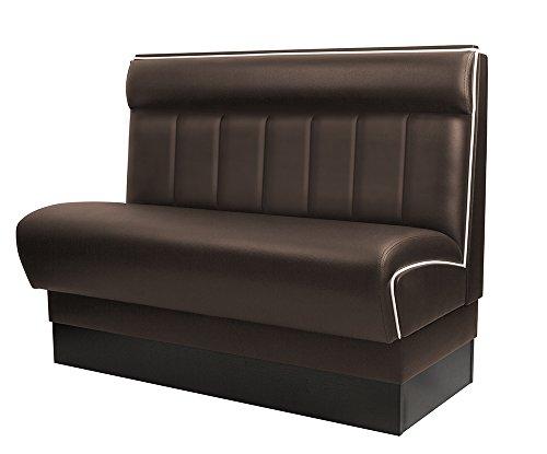 GGM Möbel American Gastro Sitzbank 120x95cm | Dunkelbraun & Weiß | Gestreift | Gastrobank Dinerbank Polsterbank Bistro Lounge Bank Dinermöbel Loungemöbel