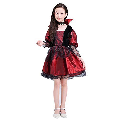 Yqihy Viktorianisches Vampir-Kostüm für Kinder, Größe M (90-160 cm), mädchen, 110 - Viktorianische Vampirin Kostüm Kind